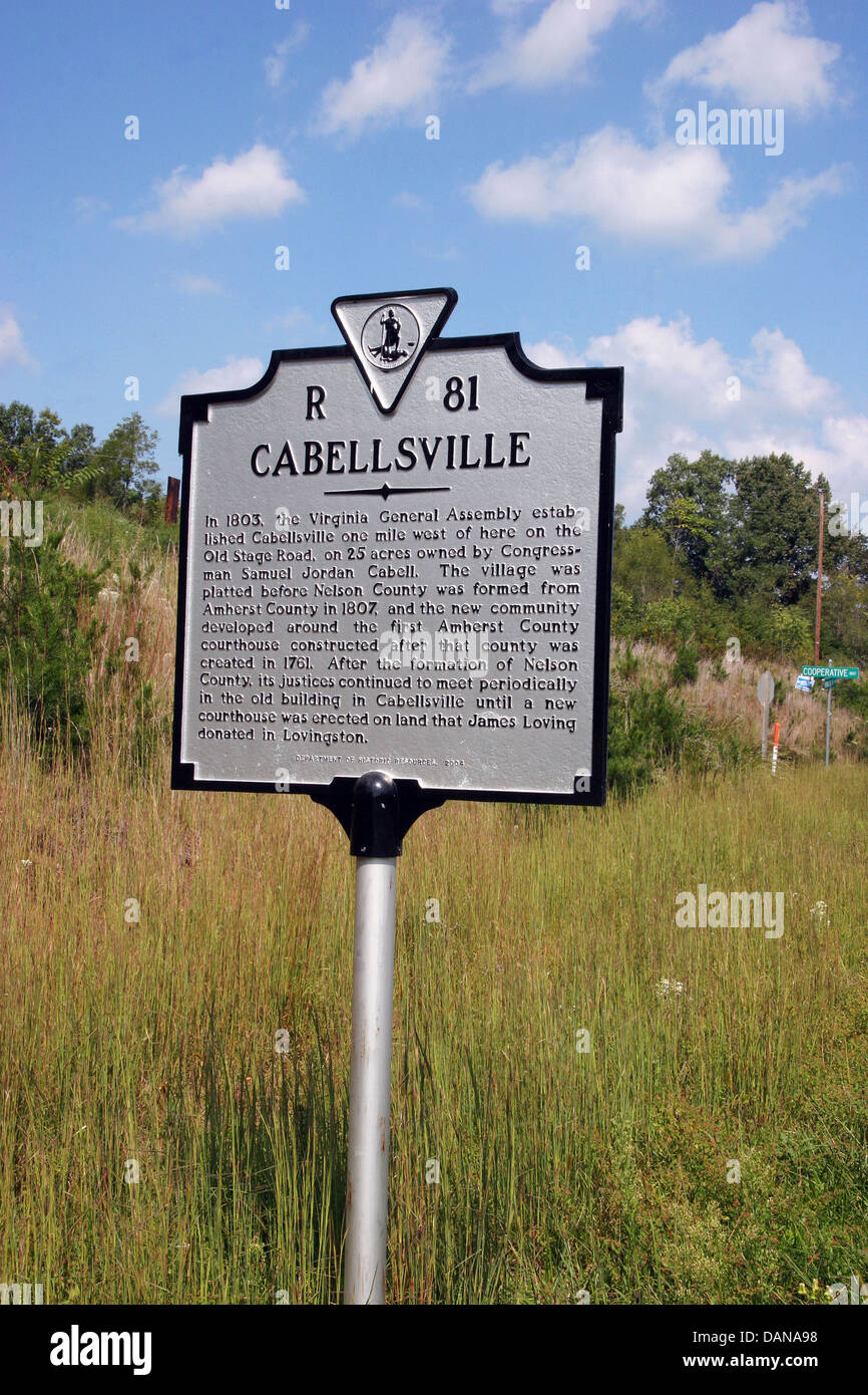 CABELLSVILLE  In 1803, the Virginia General Assembly established Cabellsville one mile west of here on the Old Stage - Stock Image