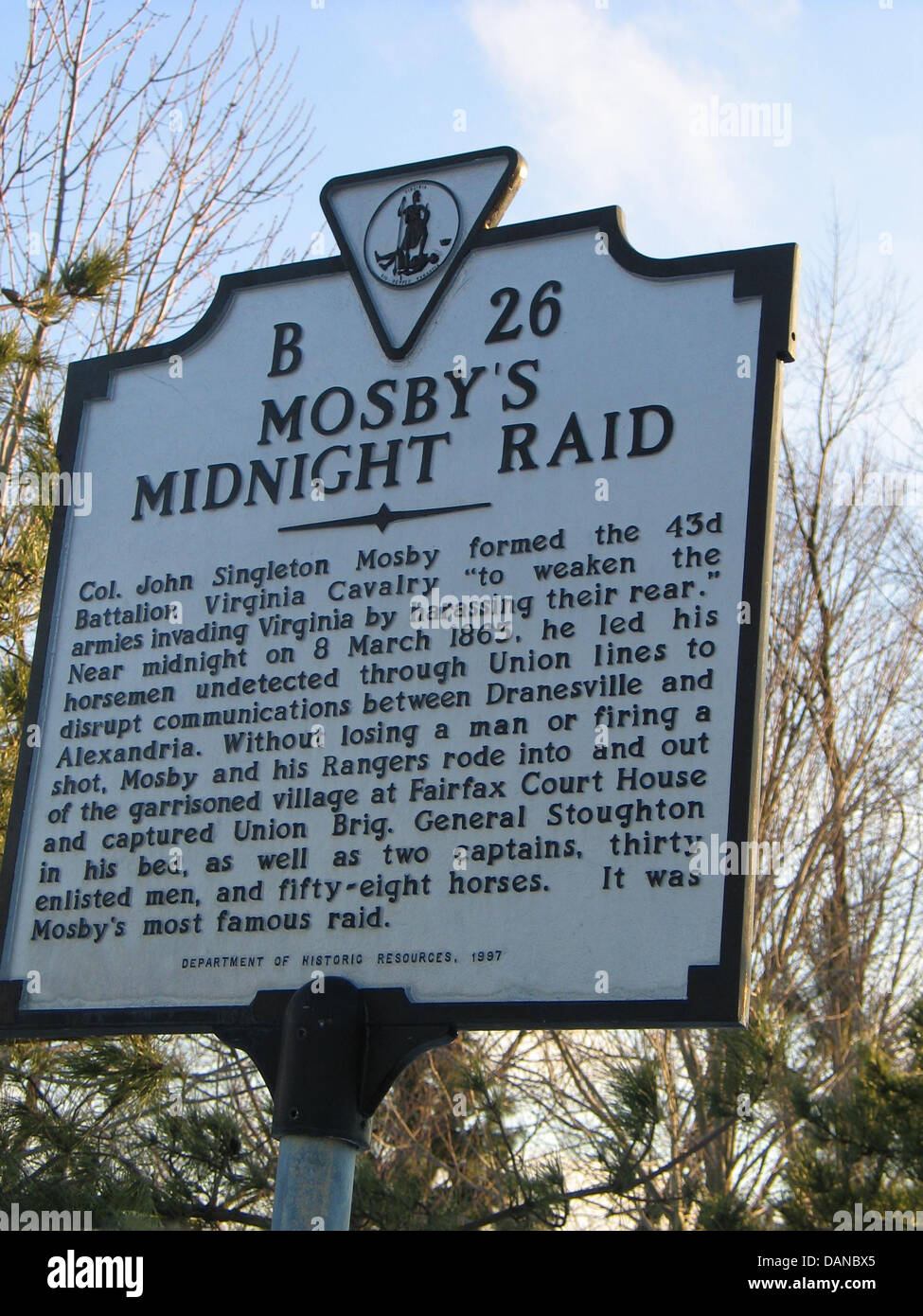MOSBY'S MIDNIGHT RAID  Col. John Singleton Mosby formed the 43d Battalion Virginia Cavalry to 'weaken the - Stock Image