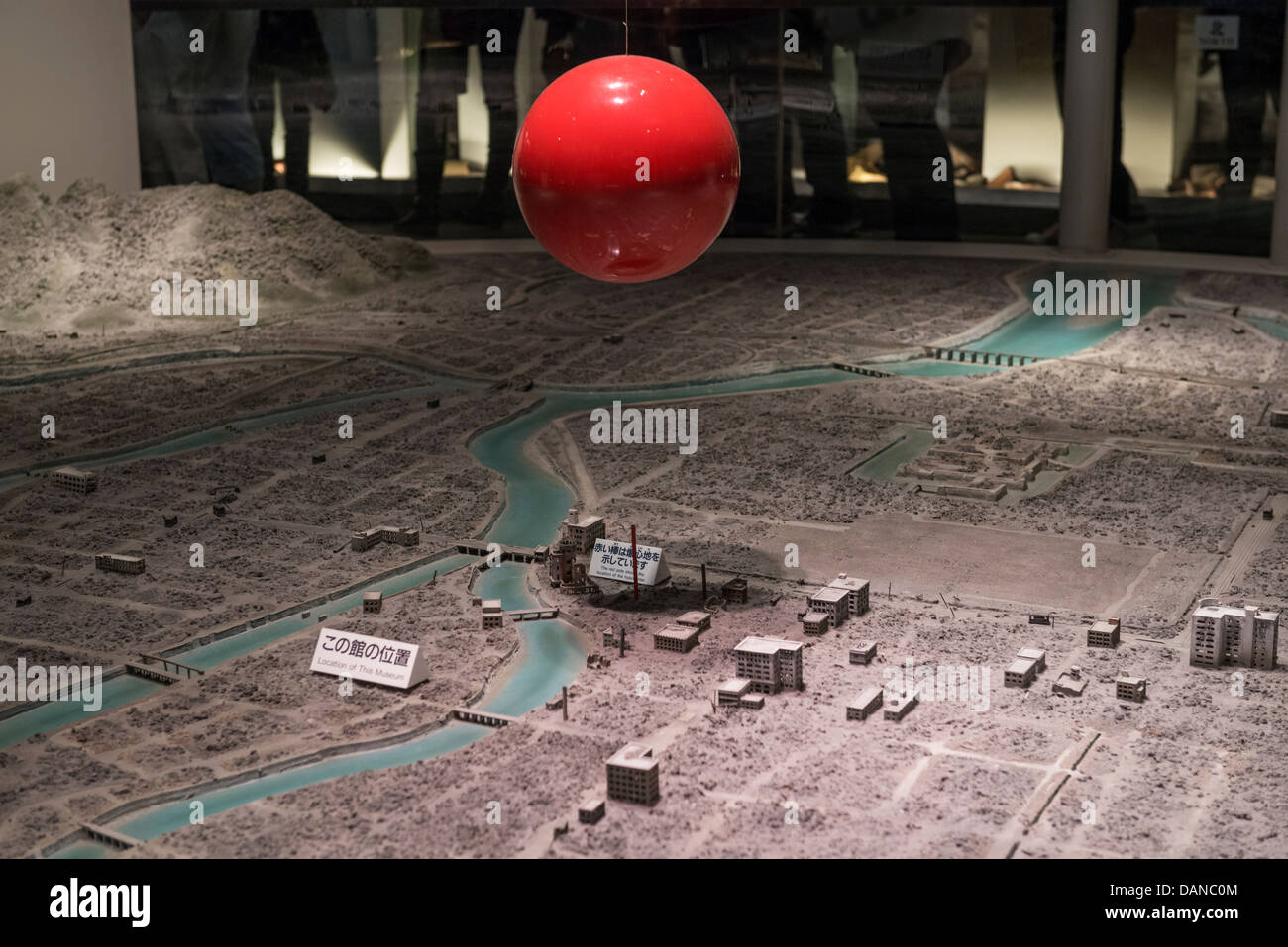Map of Hiroshima after the Nuclear Explosion in Hiroshima Peace Memorial Museum. The Red Ball Depicts the Hypocenter, - Stock Image