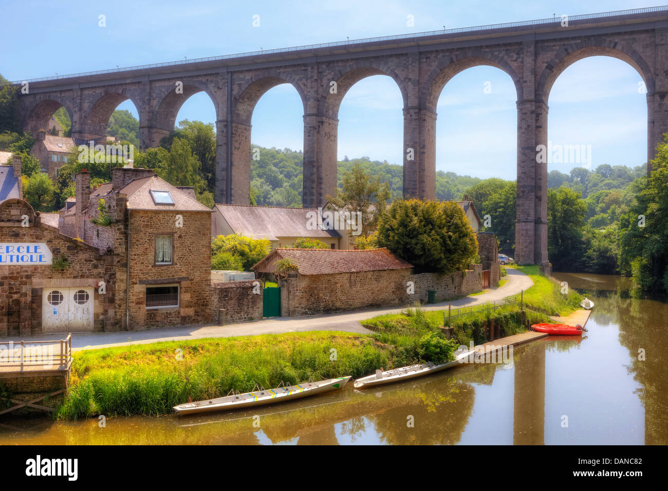 viaduct in Dinan, Brittany, France - Stock Image