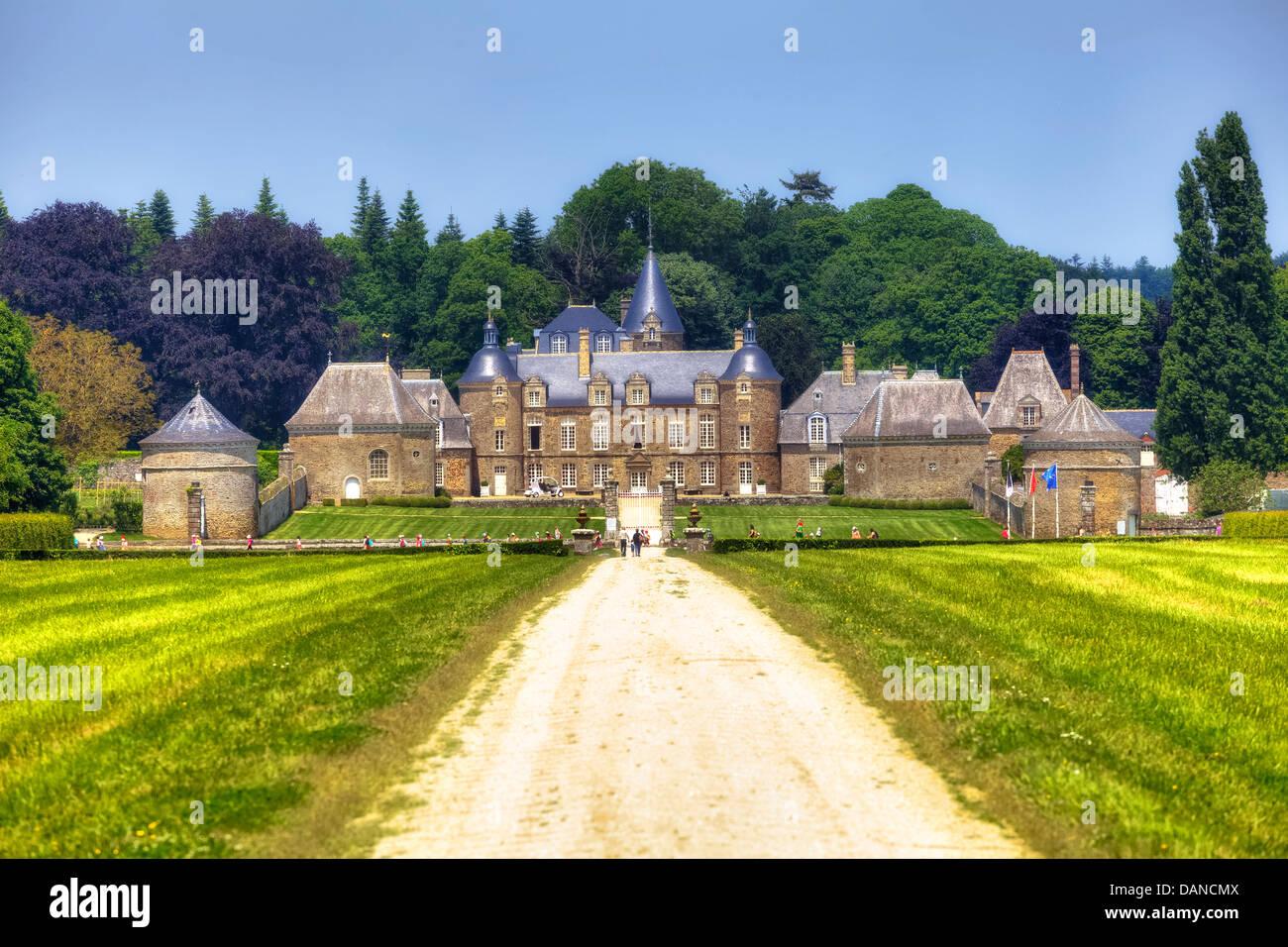chateau de la bourbansais, Pleugueneuc, Brittany, France - Stock Image