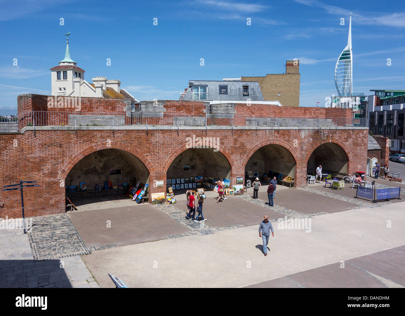 Fortifications Old Portsmouth - Tower House and Spinnaker Tower in Background - Stock Image