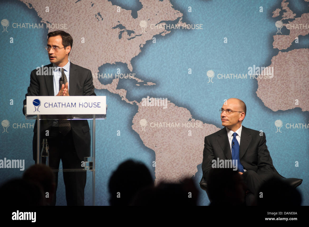 London, UK. 16th July, 2013. Italian Prime Minister Enrico Letta speaks at Chatham House during a meeting on the - Stock Image