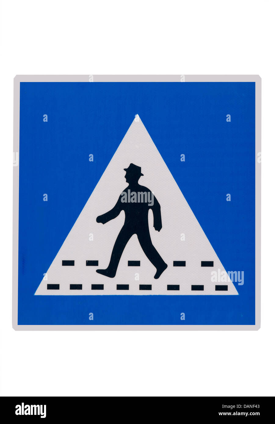 Road sign. Warning, people crossing the street - Stock Image