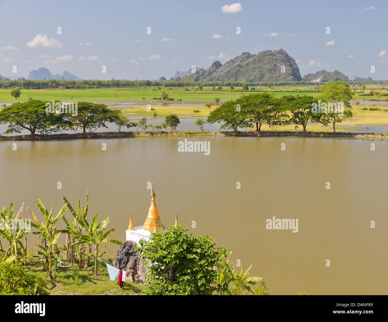 kart over burma burmese countryside with stupa, flooded rice fields, trees and  kart over burma