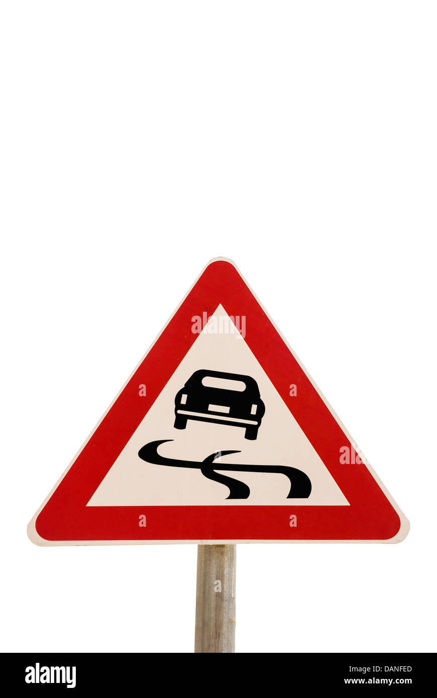 Road sign. Warning, slippery road - Stock Image