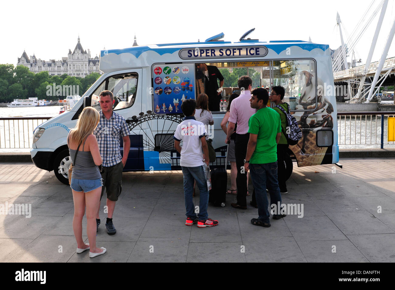 People buying ice cream from a van, South Bank, London, UK - Stock Image