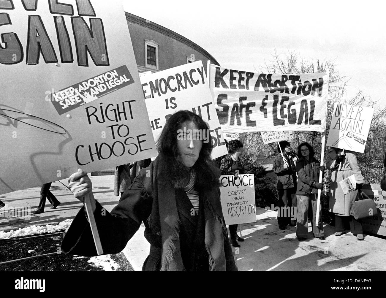 In the mid-1970s anti abortion and pro abortion marchers gathered for large rallies and protests at the NM State - Stock Image