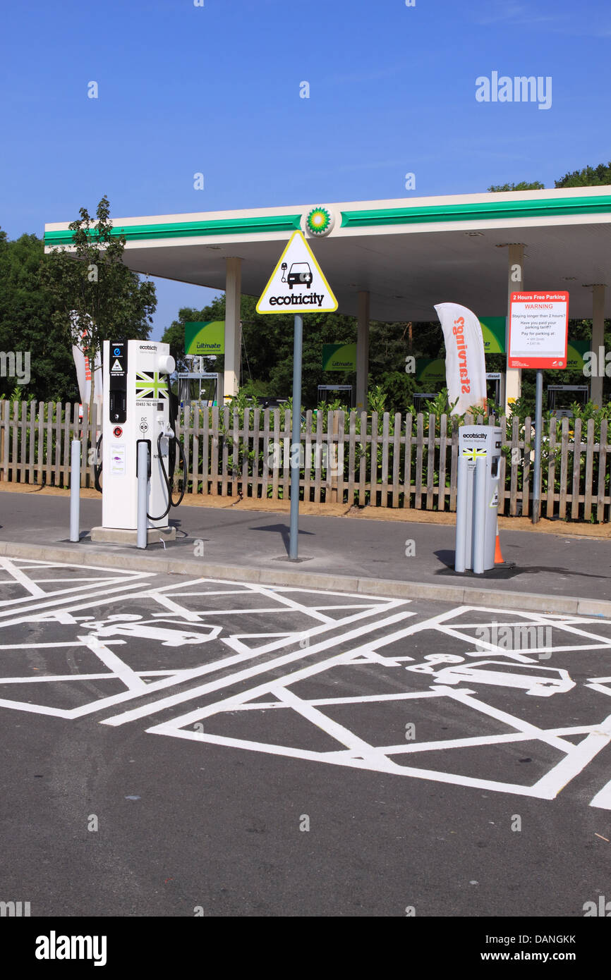 Ecotricity Electric Highway vehicle electric car charging point at Michaelwood Services Gloucestershire on the M5 motorway. Stock Photo