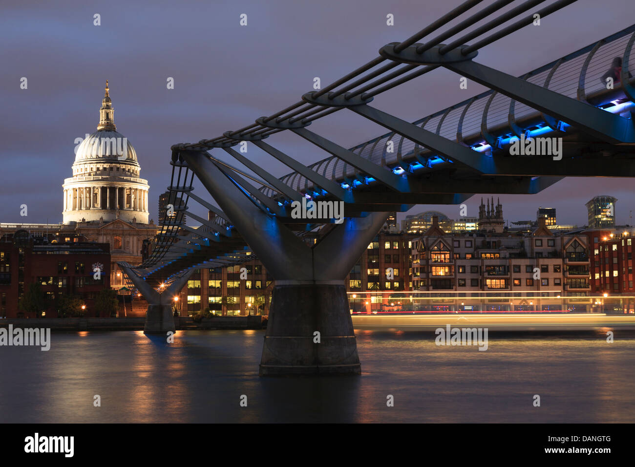 The Millennium Bridge, officially known as the London Millennium Footbridge, St Pauls Cathedral, London, UK - Stock Image