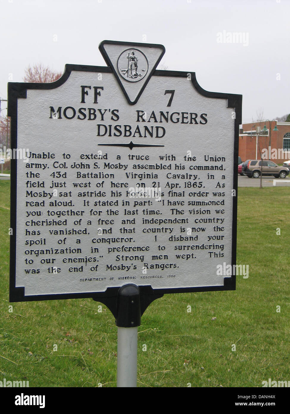 MOSBY'S RANGERS DISBAND  Unable to extend a truce with the Union army, Col. John S. Mosby assembled his command, - Stock Image