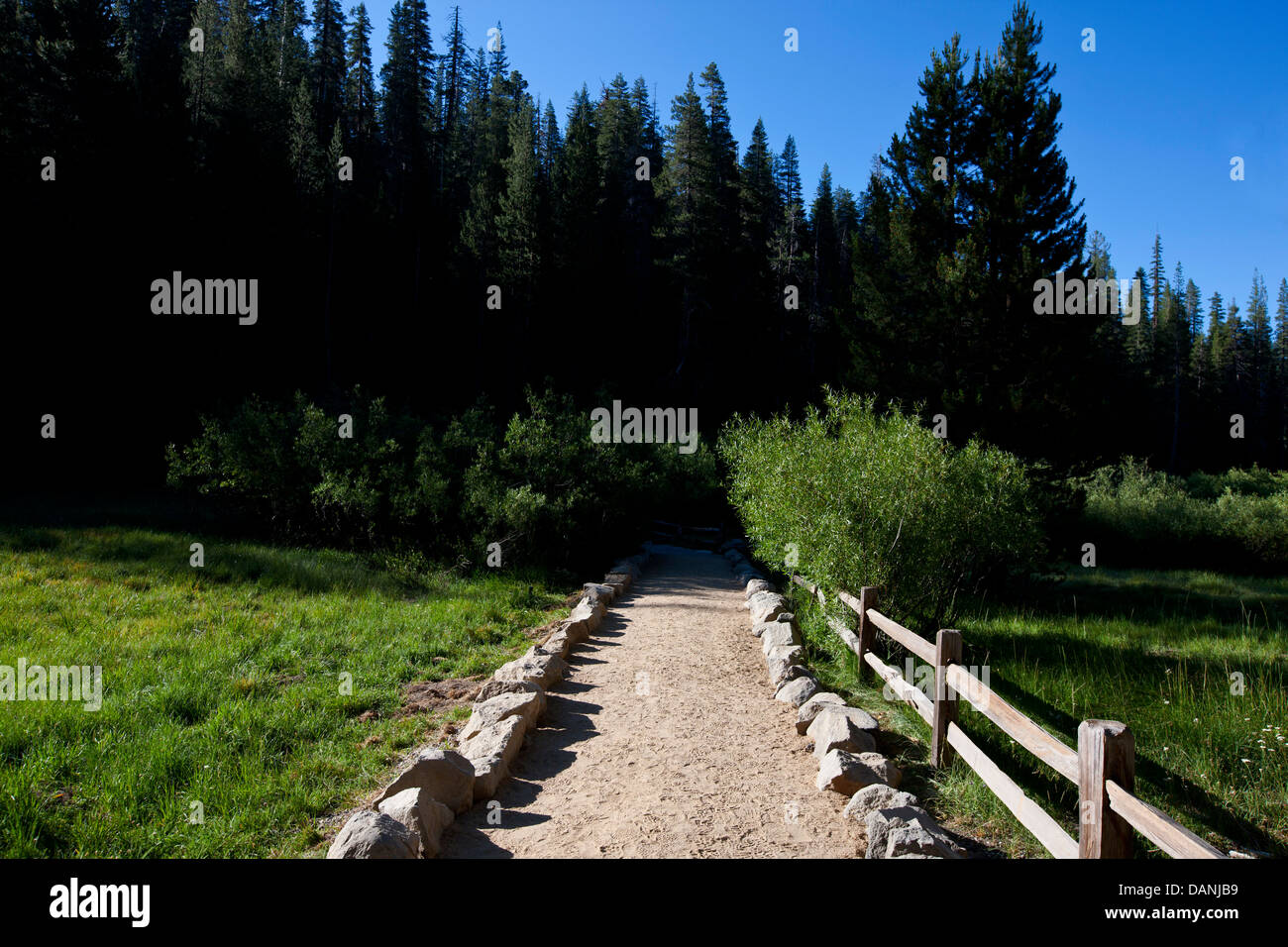 Hiking trail to Devils Postpile National Monument, California, United States of America - Stock Image