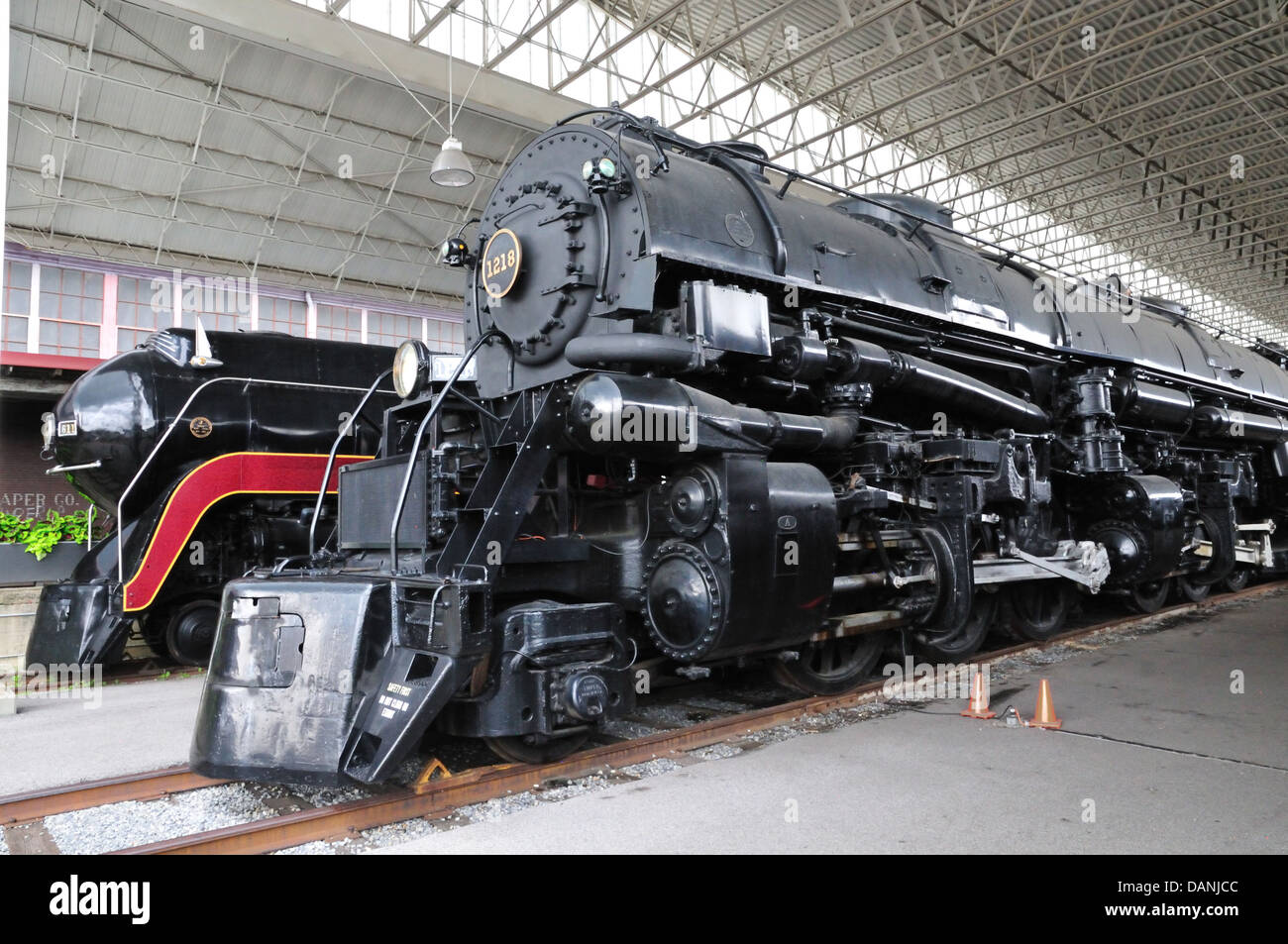 Norfolk and Western Class J 611 and Class A 1218 steam locomotives at the  Virginia Museum of Transportation, Roanoke