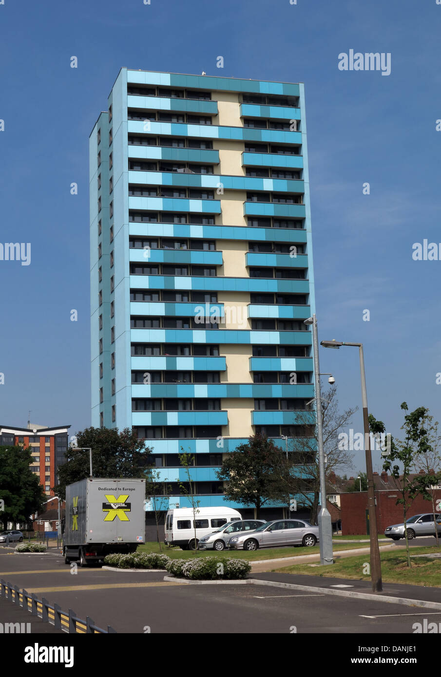 Large residential city tower blocks West Midlands near Wolverhampton England UK - painted blue and Teal Stock Photo