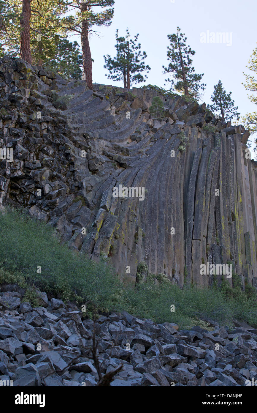 Columnar basalt rock formations, Devils Postpile National Monument, California, United States of America - Stock Image