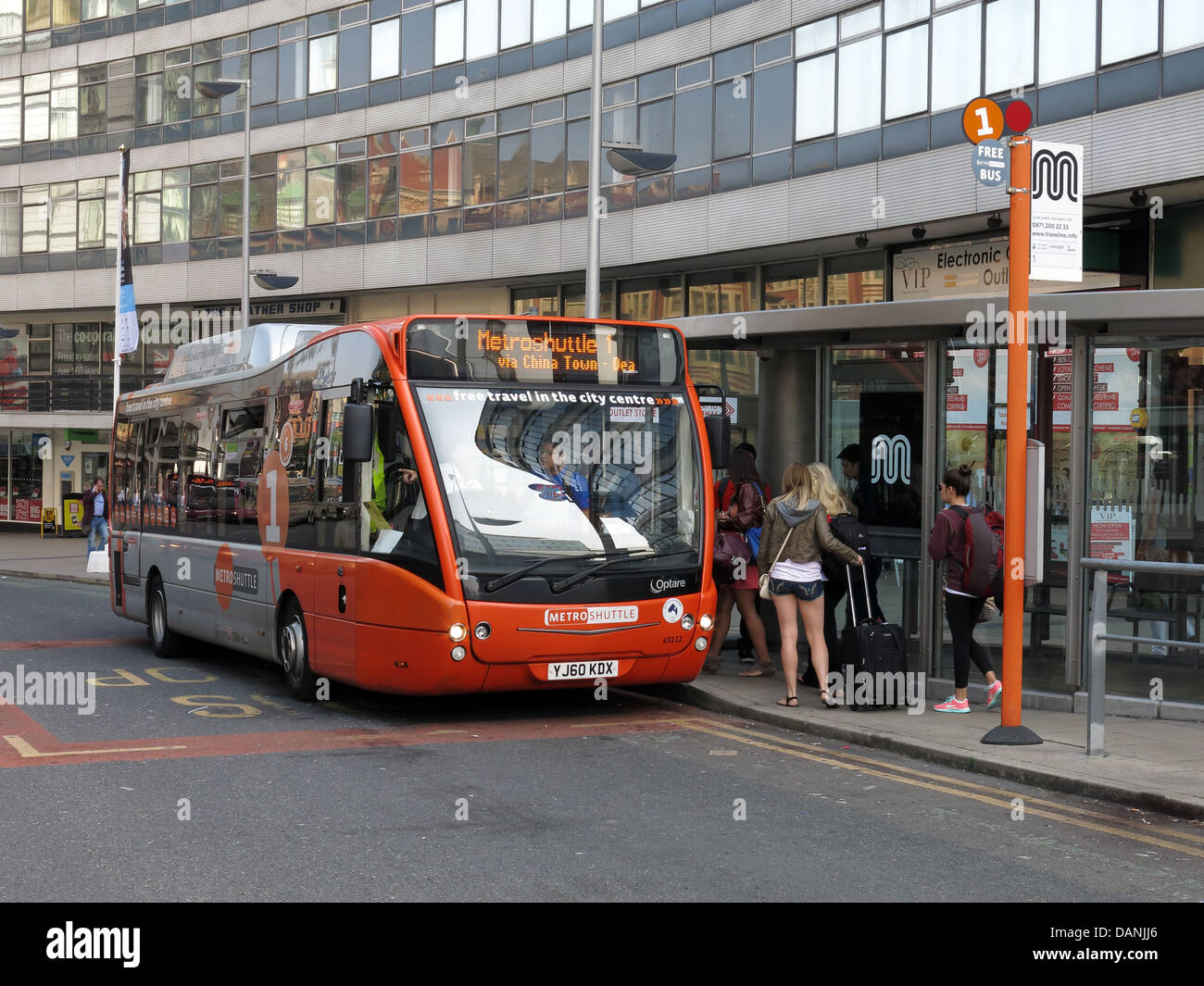 Manchester city transport free bus the MetroShuttle - Stock Image