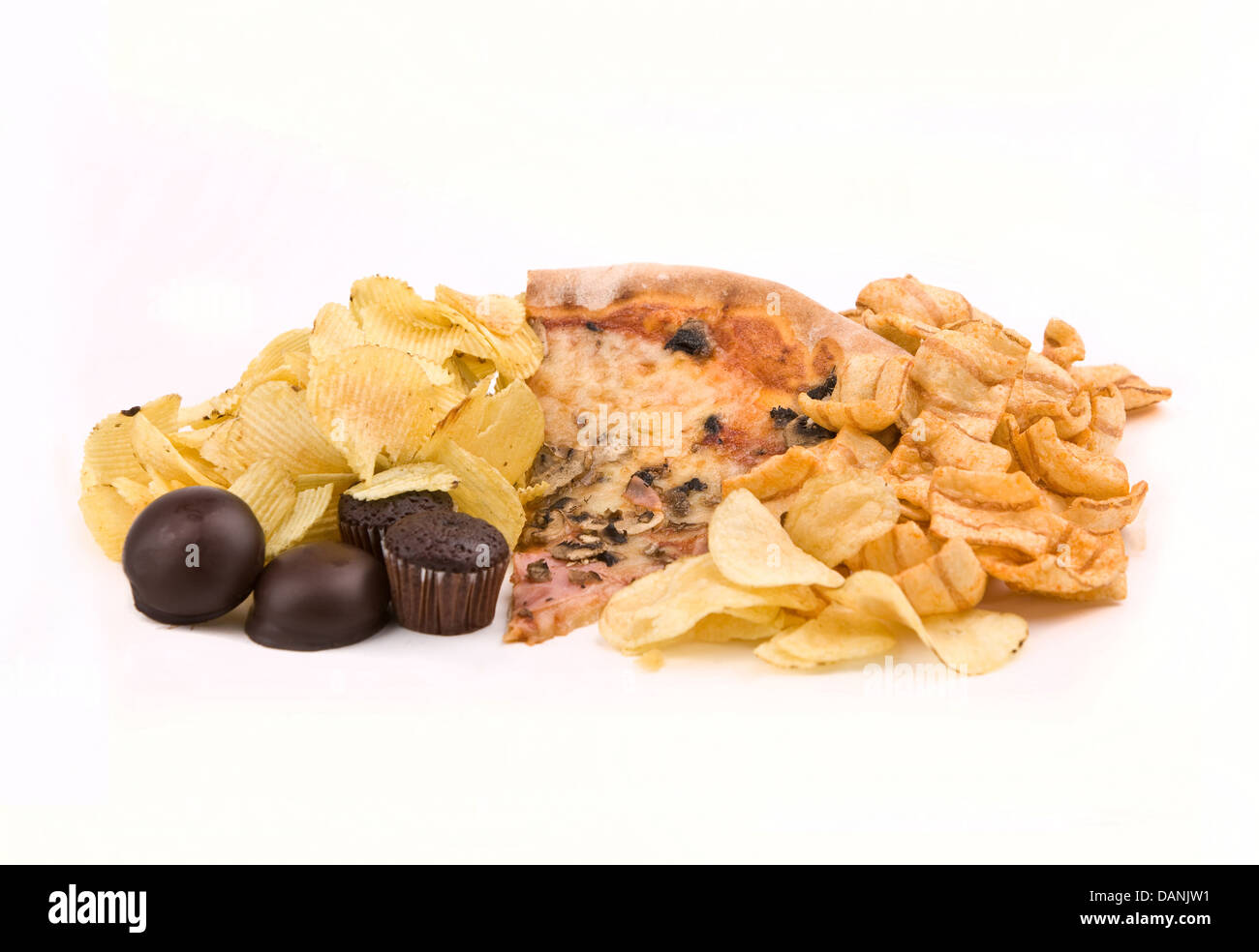 Junk food isolated on white - Stock Image