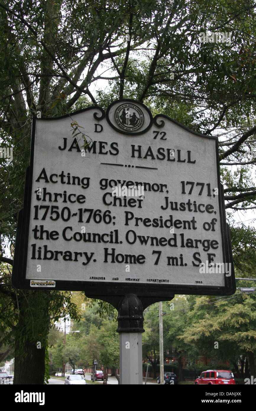 JAMES HASELL  Acting governor, 1771; thrice Chief Justice, 1750-1766; President of the Council. Owned large library. - Stock Image
