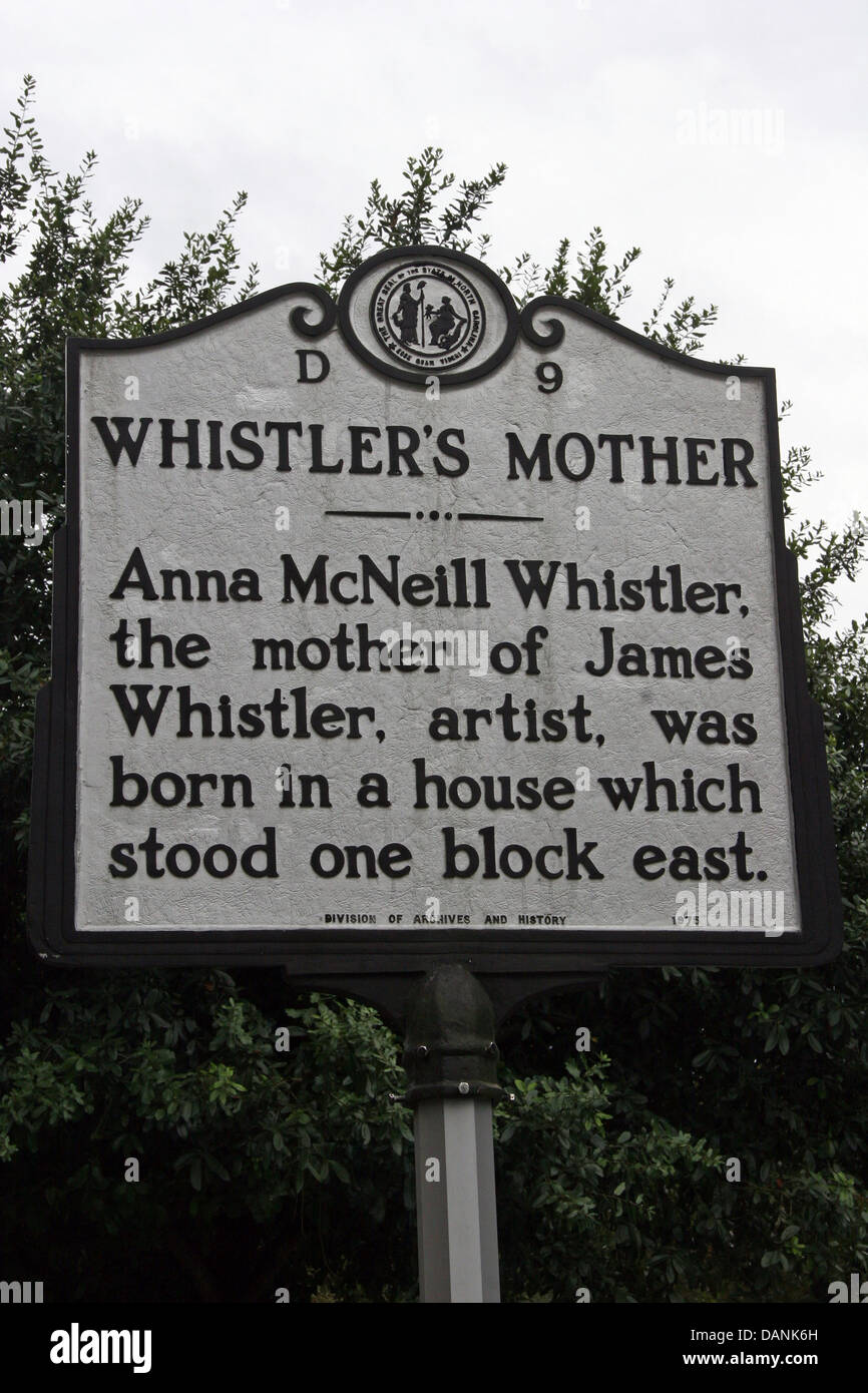 WHISTLER'S MOTHER  Anna McNeill Whistler, the mother of James Whistler, artist, was born in a house which stood - Stock Image