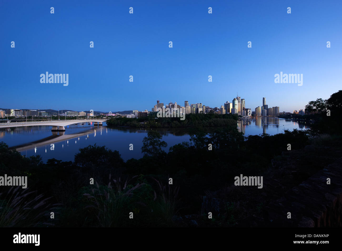 Brisbane central business district nestled behind the Botanical Gardens Stock Photo