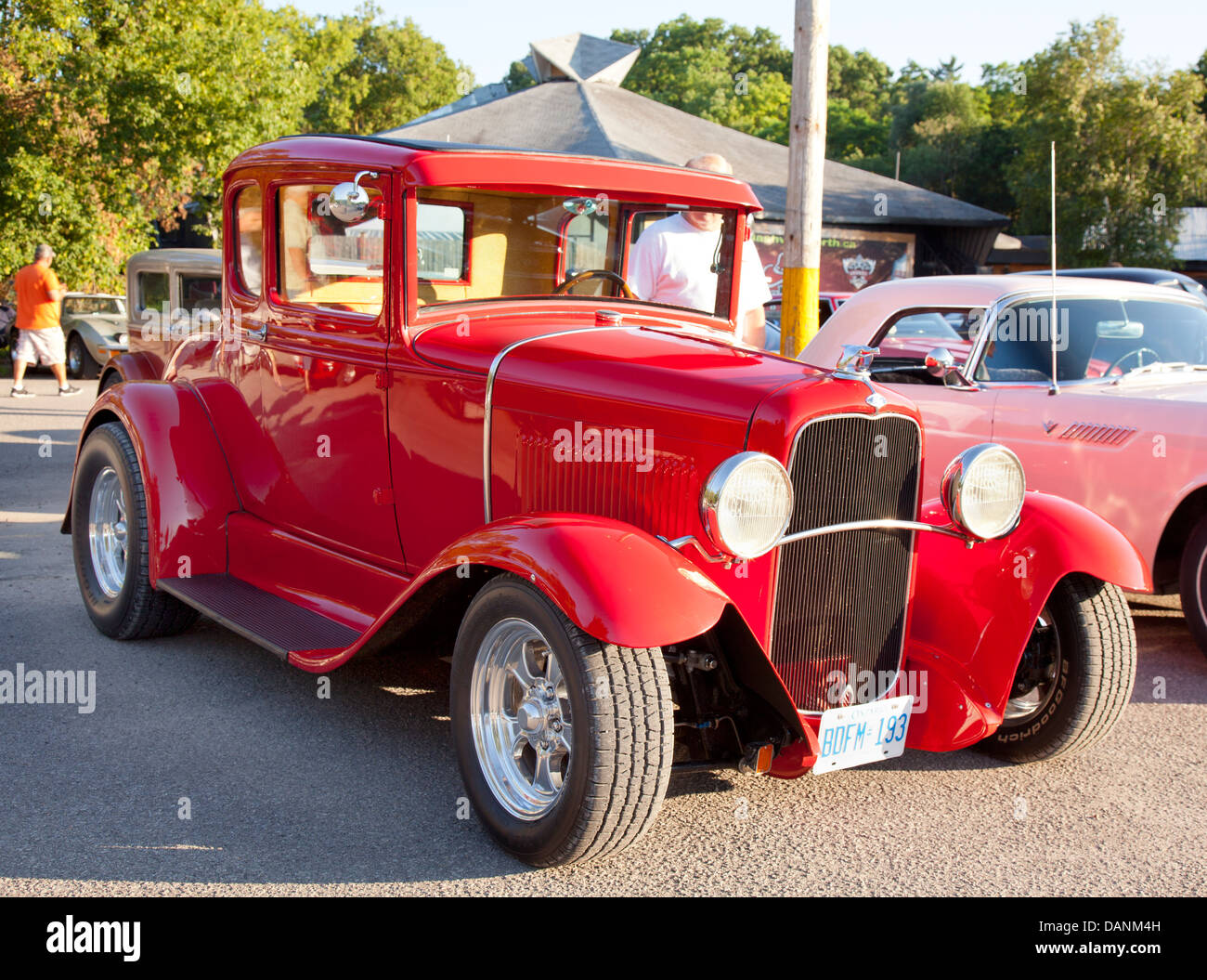 vintage classic roadster at car show - Stock Image