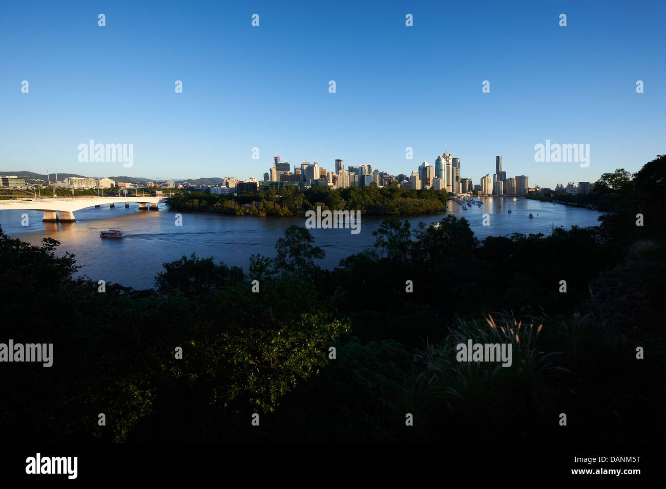 Brisbane central business district nestled behind the Botanical Gardens - Stock Image