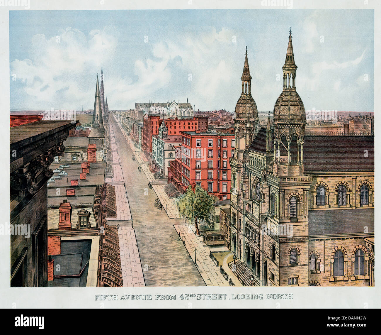 Fifth avenue from 42nd street, looking north, circa 1904 - Stock Image