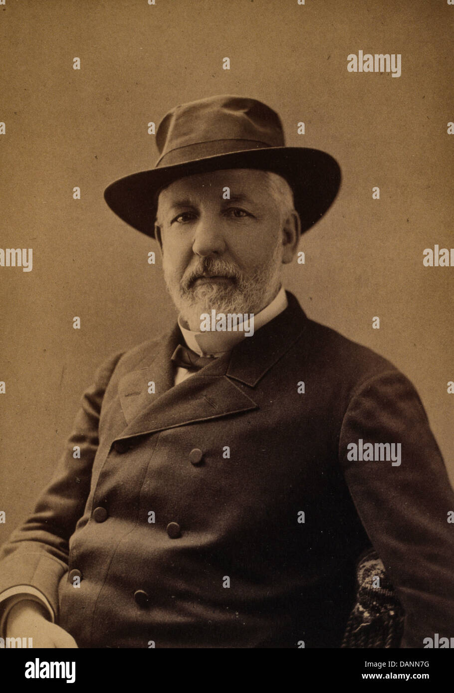 James G. Blaine, 1884 Republican presidential candidate, half-length portrait, seated, wearing hat and coat, facing - Stock Image