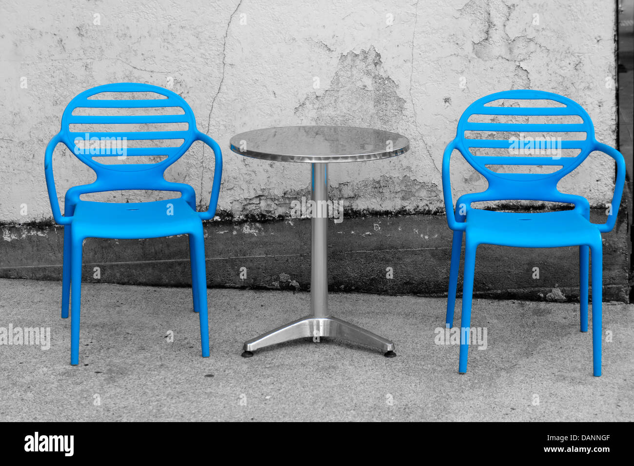 Peachy Selective Color Black And White Image Of Blue Cafe Chairs Alphanode Cool Chair Designs And Ideas Alphanodeonline
