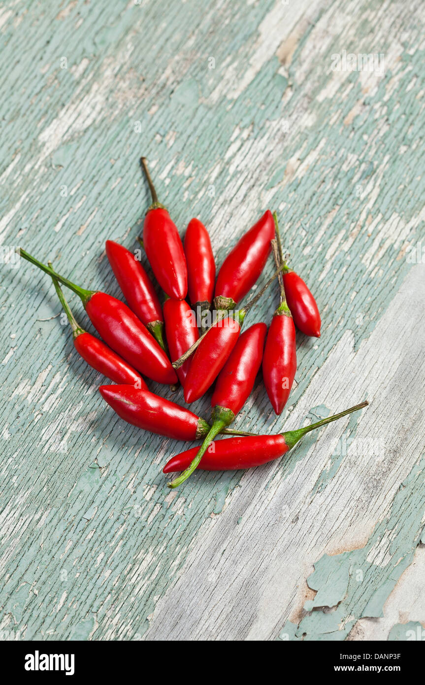 Some bright red Thai bullet chillies on a cracked painted wood surface. - Stock Image