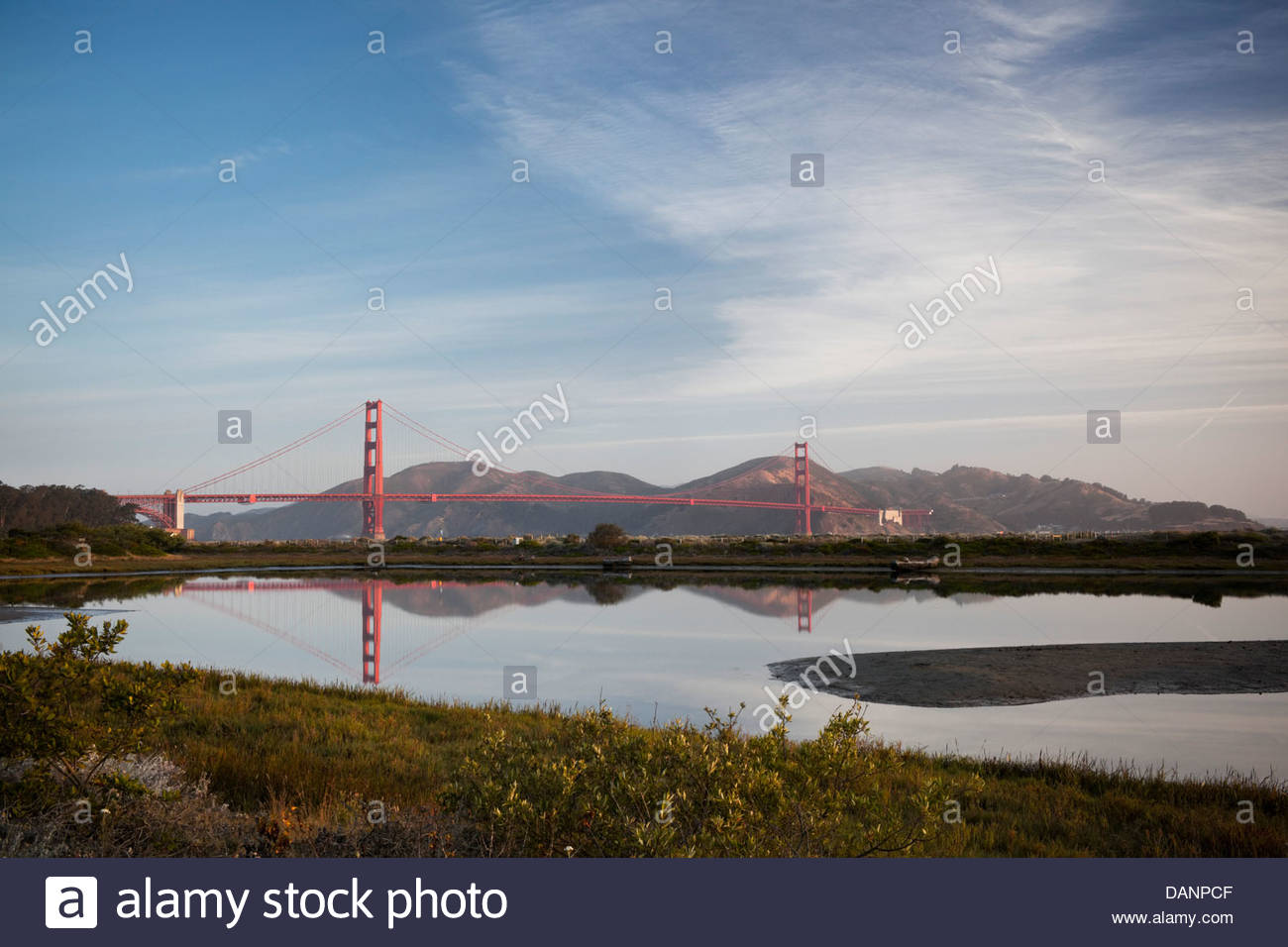 Golden Gate Bridge Morning Reflection in Crissy Field Marsh, San Francisco, California - Stock Image