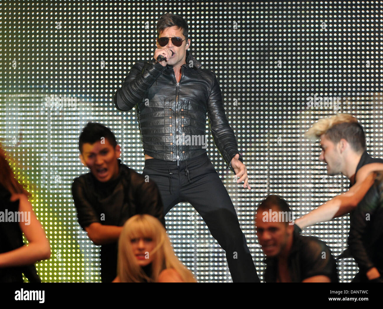 Latin pop singer Ricky Martin performs on stage during the Open Air Festival Arena of Pop in Mannheim, Germany, - Stock Image