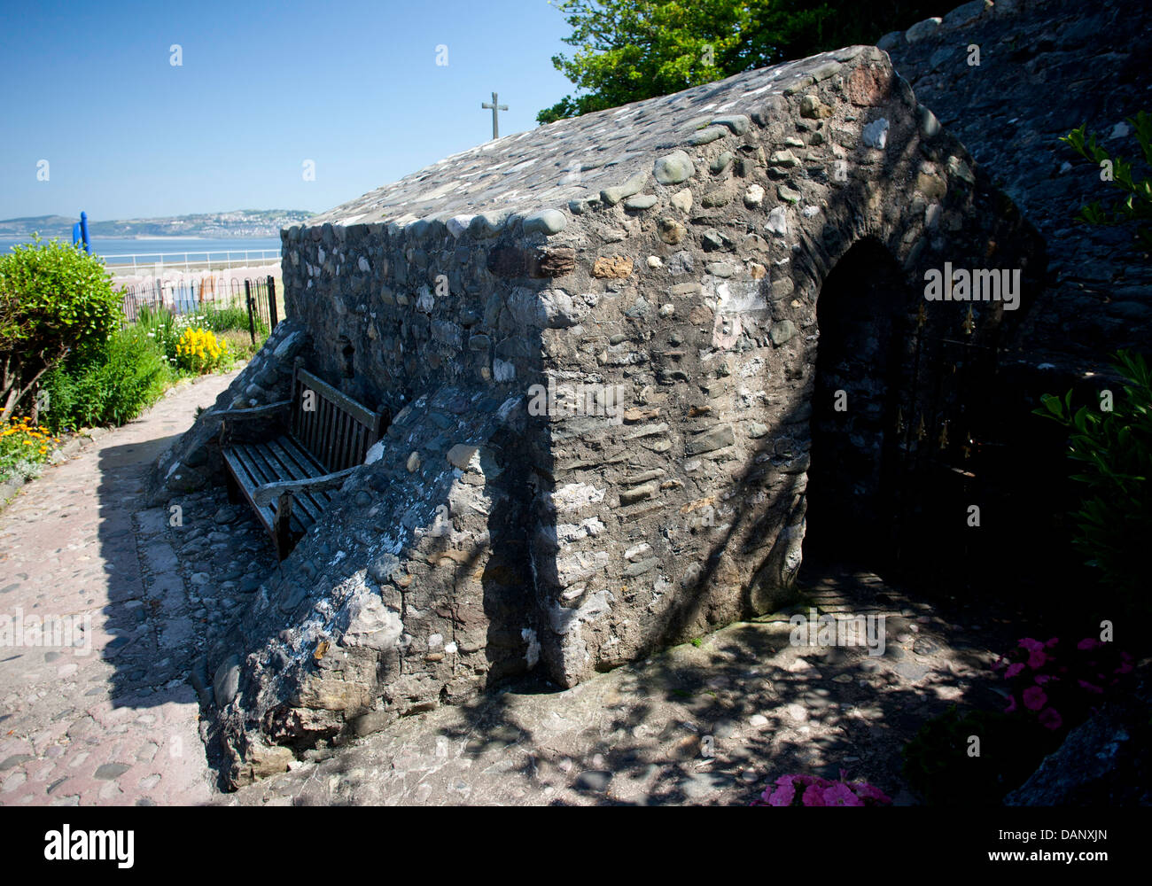 St. Trillo's Chapel on the promenade at Rhos On Sea. It is the smallest chapel in Wales. Pic Colin Paxton/CP Photography Stock Photo