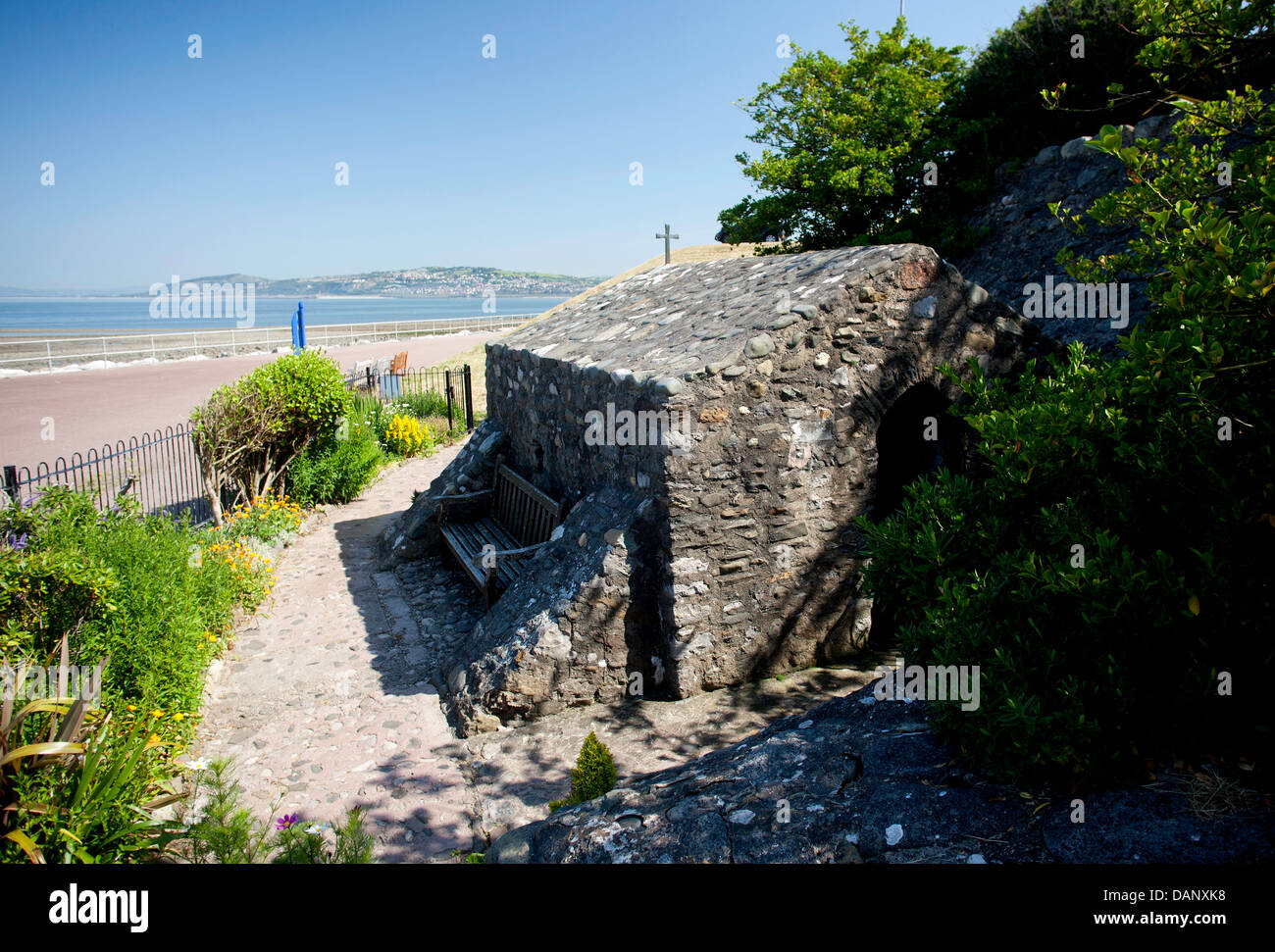 St. Trillo's Chapel on the promenade at Rhos On Sea. The smallest chapel in Wales. Pic Colin Paxton/CP Photography - Stock Image