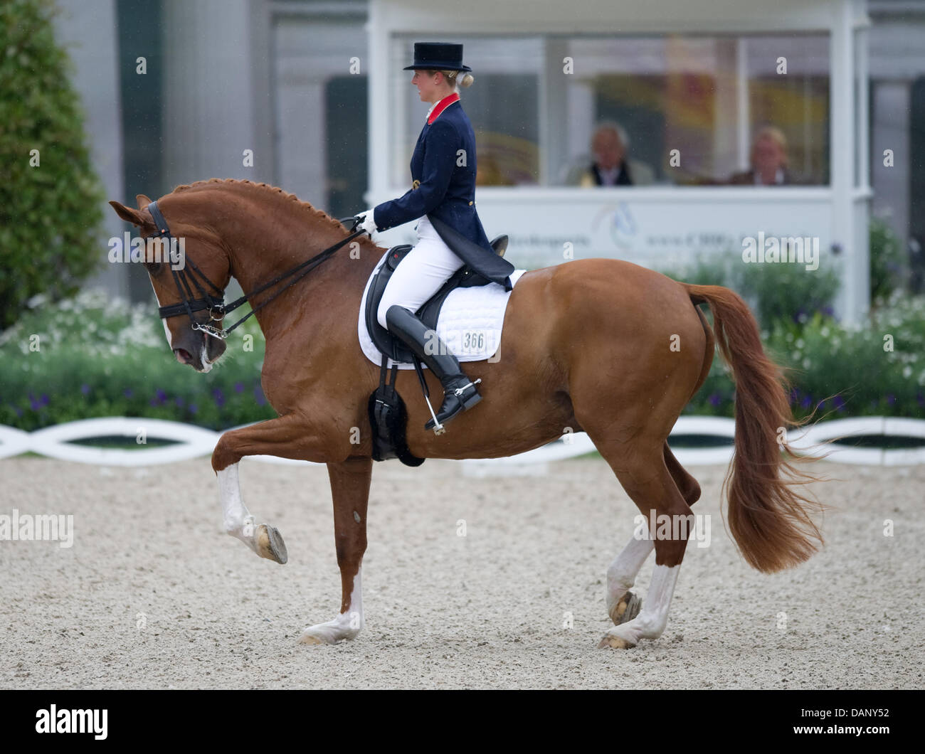 Britain's Laura Bechtolsheimer rides Hojris during the dressage riding at the CHIO in Aachen, Germany, 14 July - Stock Image