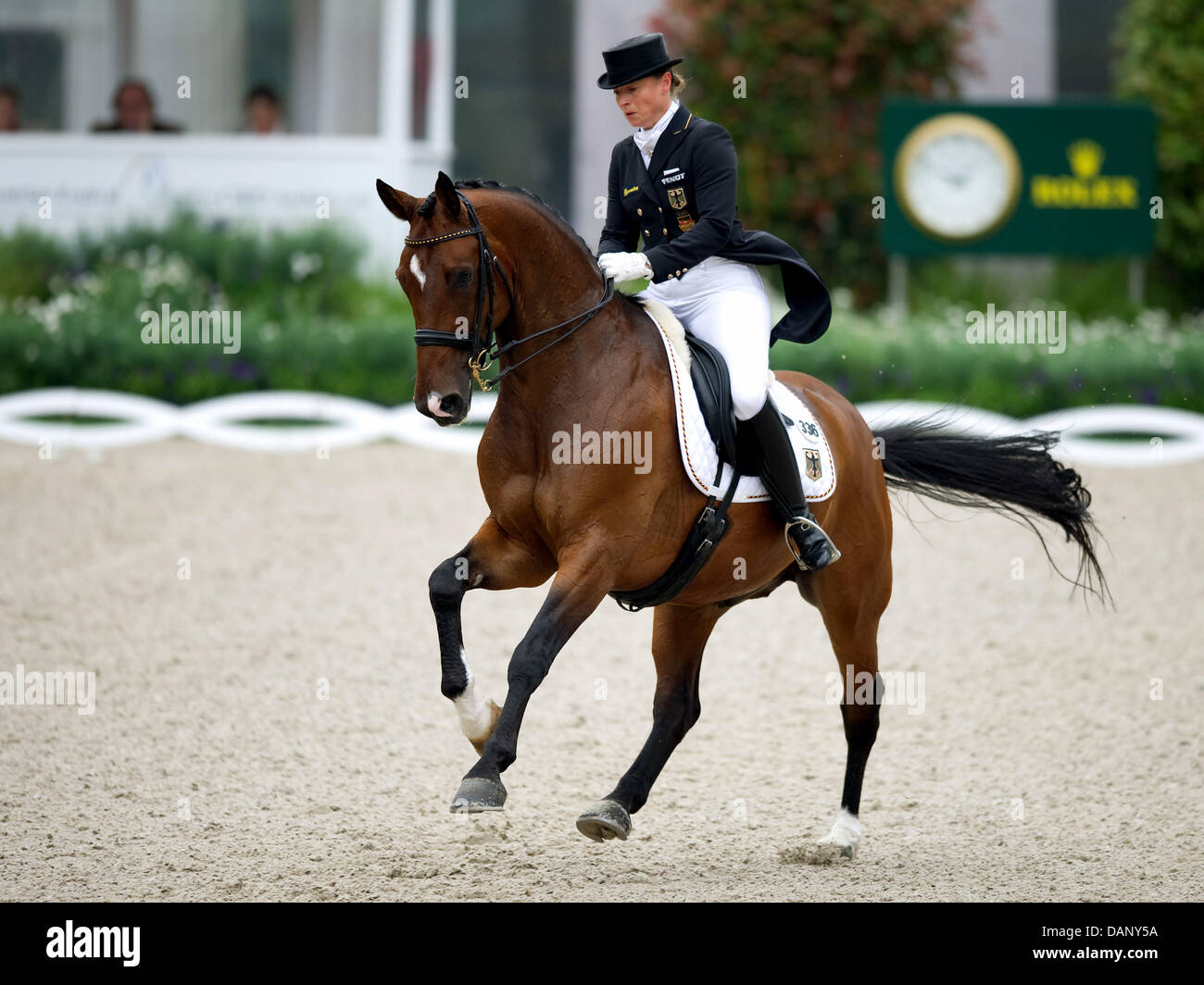 German Isabell Werth rides El Santo during the dressage riding at the CHIO in Aachen, Germany, 14 July 2011. Isabell - Stock Image