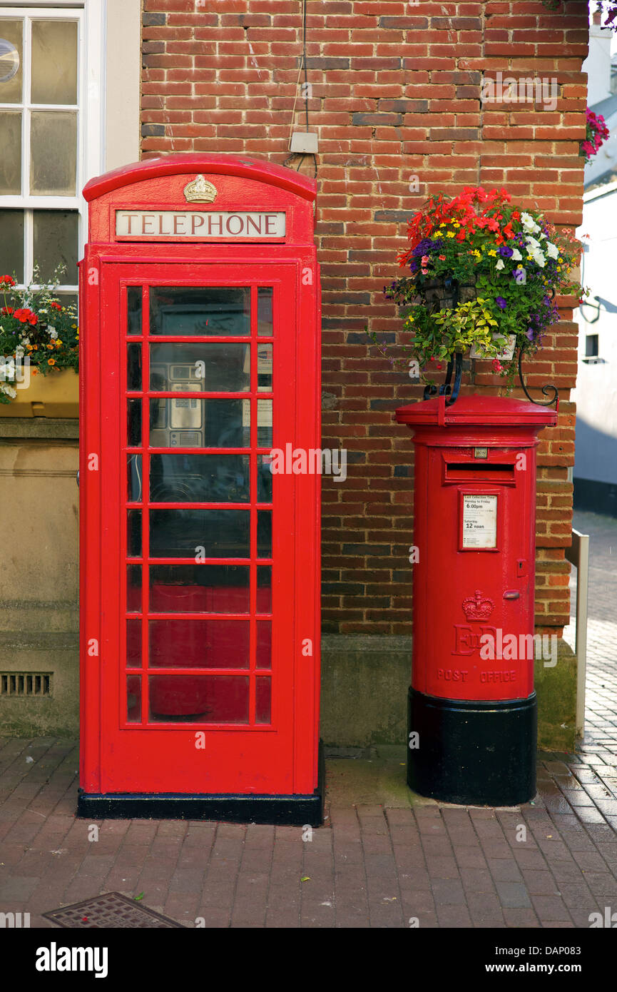 Telephone and post boxes together, Sidmouth, Devon - Stock Image