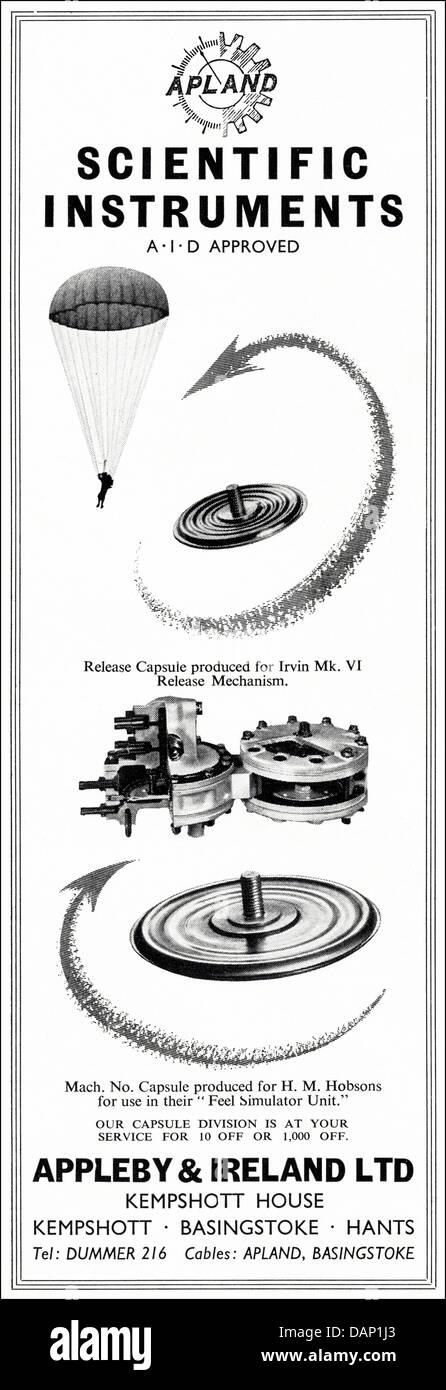 Advert for scientific instruments by Appleby & Ireland Ltd Kempshott Basingstoke Hants England UK suppliers - Stock Image