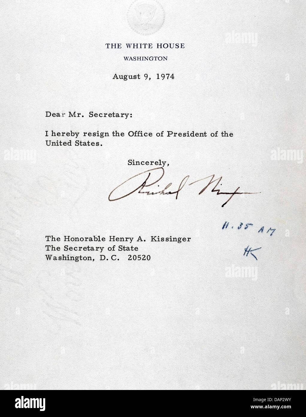 Richard Nixon Letter Of Resignation 9 August 1974 Stock Photo