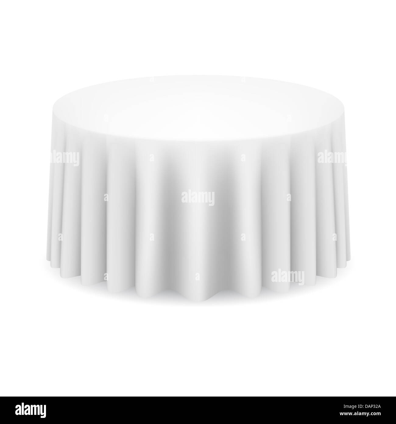 Round Table With Tablecloth.White Round Table With Tablecloth Illustration On White Stock Photo