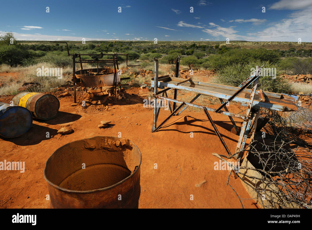 A small diamond mining setup near Barkly West, South Africa - Stock Image