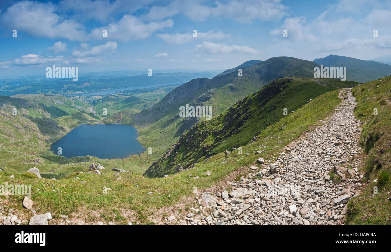 View of Coniston Lake, Fells and Levers Water from How Crags on Swirl How - Stock Image