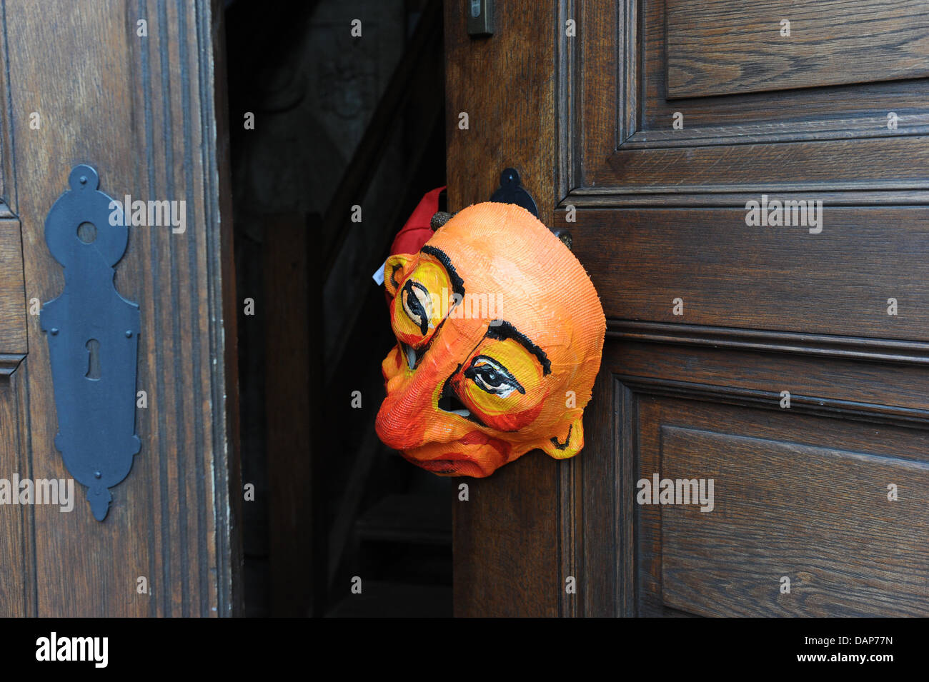 A Mask Is Put At The Door Of The Temnitz Church Prior To The Stock