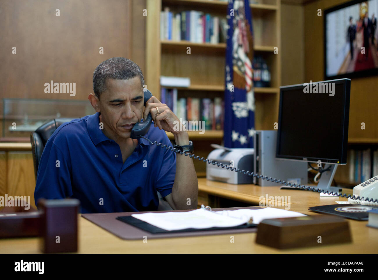 United States President Barack Obama holds a conference call from Camp David during a briefing on the tragedy in - Stock Image