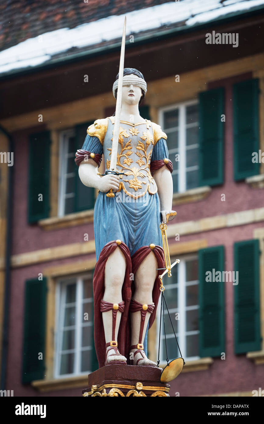 Europe, Switzerland, Biel, medieval old town, Justice statue - Stock Image