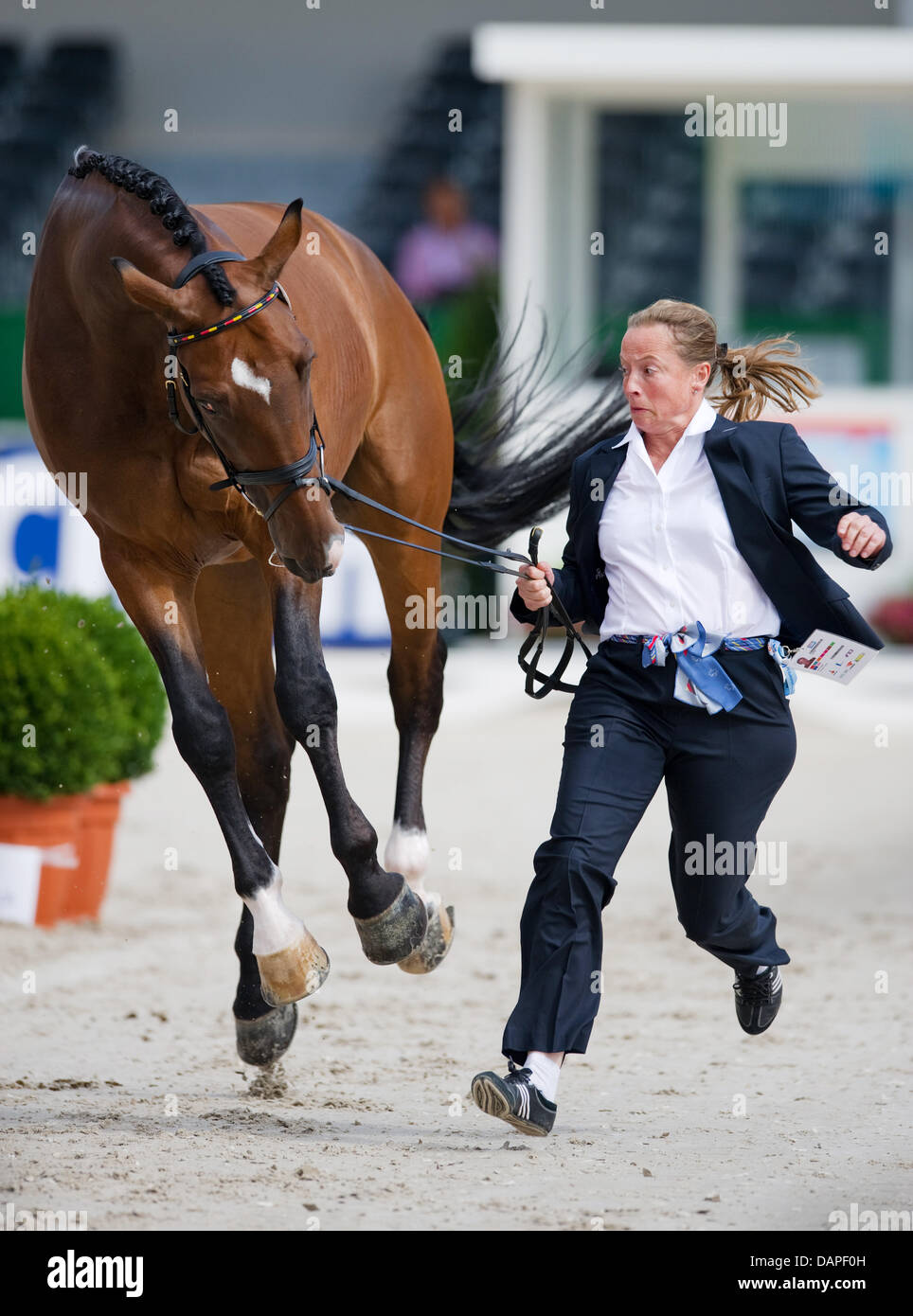 German Dressage Rider Isabell Werth And Her Horse El Santo Complete The Veterinary Examination At The European Dressage Championships In Rotterdam