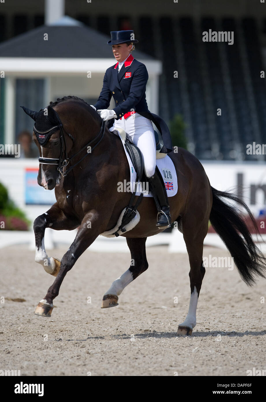 British dressage rider Charlotte Dujardin rides her horse Valegro during the team competition at the EuropeanDressage - Stock Image