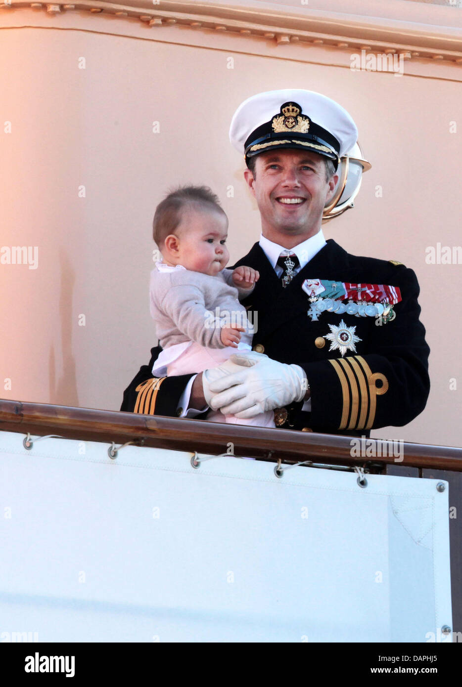 Danish Crown Prince Frederik and his twin daughter Josephine arrive in Skagen, Denmark, during the summer tour of - Stock Image