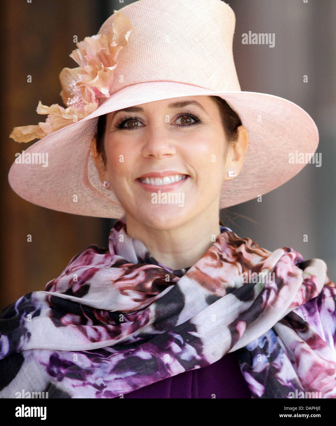 Danish Crown Princess Mary arrives in Skagen, Denmark, during the summer tour of the Crown Prince's family with - Stock Image