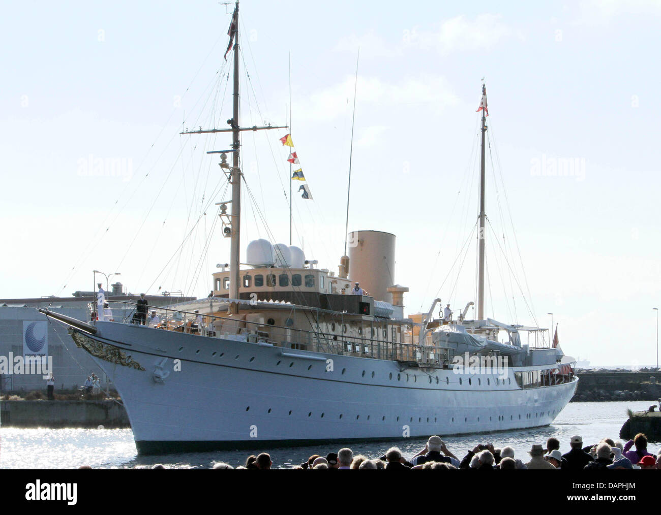 The Danish Crown Prince's family arrive with the royal yacht Dannebrog in Skagen, Denmark, during their traditional - Stock Image